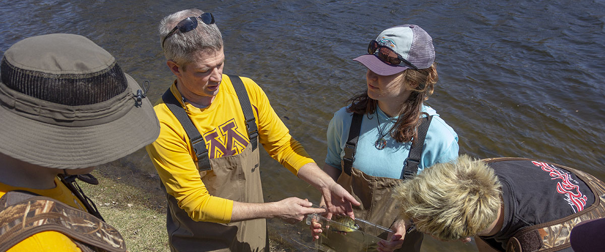 Fisheries and Wildlife Conservation Biology professor teachers students on Spoon Lake