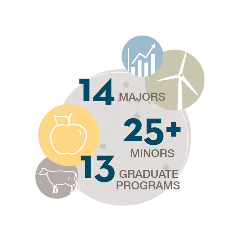 Graphic that says CFANS has 14 majors, more than 25 minors and 13 graduate programs
