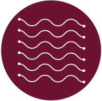 Enhance science-based solutions icon - maroon circle with white wavy lines