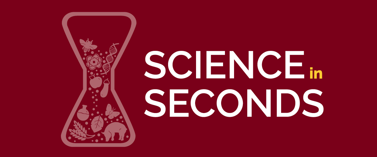 "Maroon background with the words ""Science in Seconds"" next to a beaker."